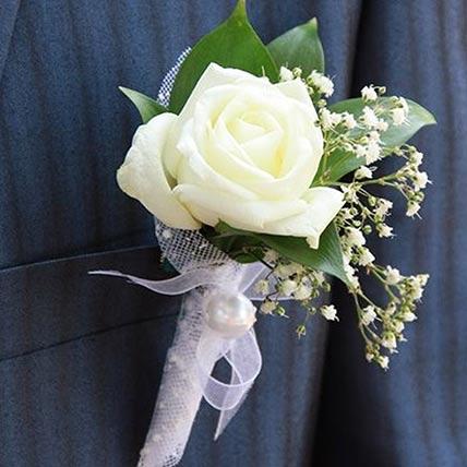 Gorgeous White Rose Boutonniere