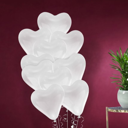 White Heart Shape Balloons