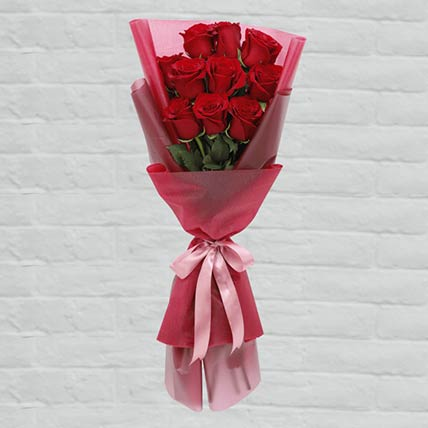 10 Red Roses Lovely Bouquet