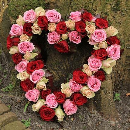 Mixed Roses Heart Shaped Arrangement