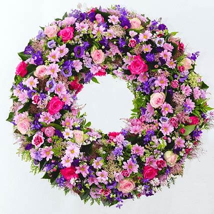 Pink & Purple Flowers Wreath