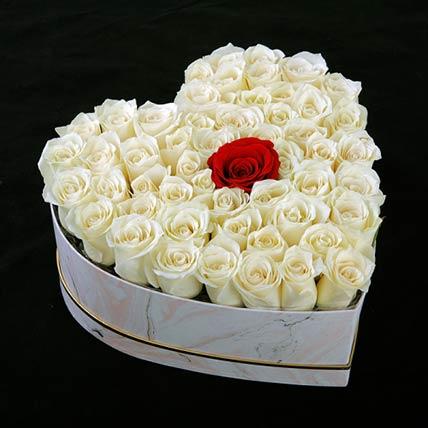 Pure Love Roses Heart Box