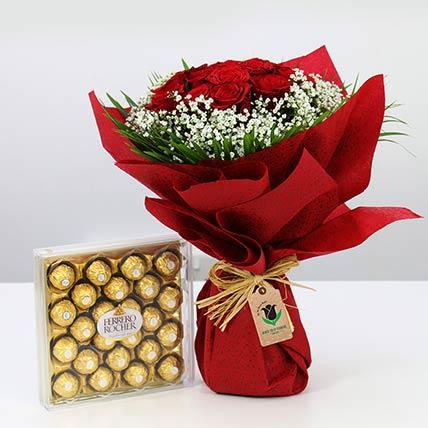 Red Roses Bunch & Ferrero Rocher