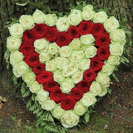 Red & White Roses Heart Shaped Arrangement
