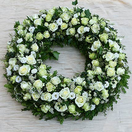White Flowers Wreath