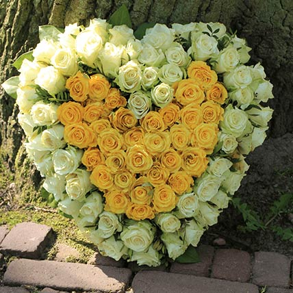 White & Yellow Roses Heart Shaped Arrangement