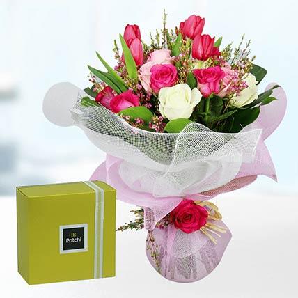 Tulips & Roses With Patchi Chocolates- Premium