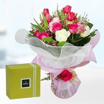 Tulips & Roses With Patchi Chocolates- Standard