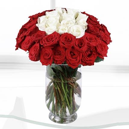 White & Red Roses Vase- Deluxe