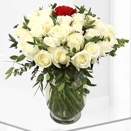 1 Red & 49 White Roses Vase