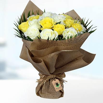 Yellow & White Roses Bouquet- Premium