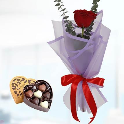 6 Red Roses Purple Wrap & Godiva Chocolates