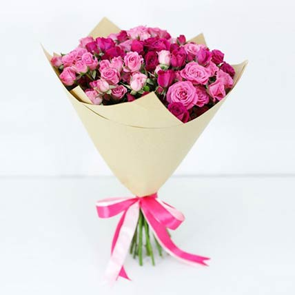 10 Stems Of Pink Spray Roses Bouquet