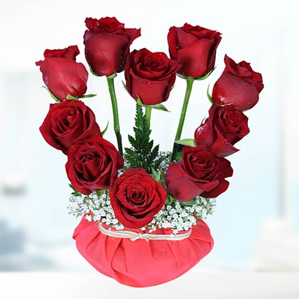 10 Stems Red Roses Vase