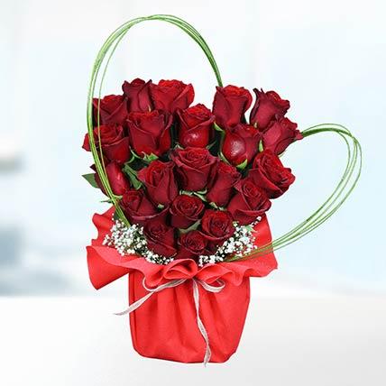 21 Red Stems Rose In Vase