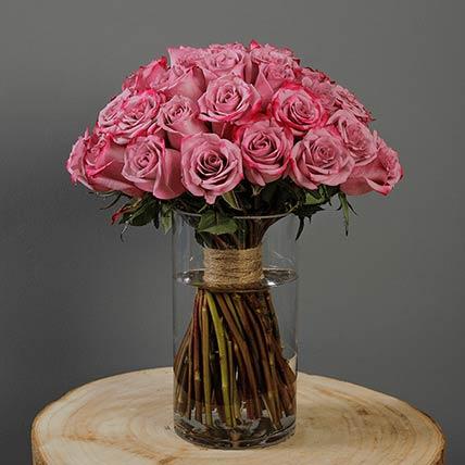 30 Stems Deep Purple Roses Vase