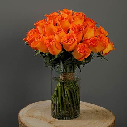 30 Stems Spritz Orange Roses Vase