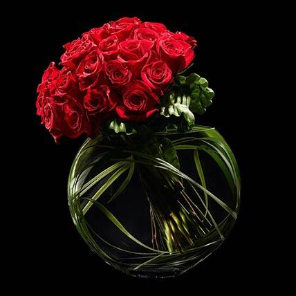 30 Stunning Red Roses Vase