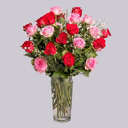 35 Pink & Red Roses Vase