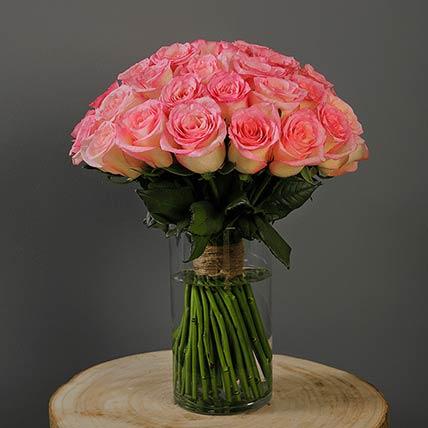 40 Stems Light Pink Roses Vase