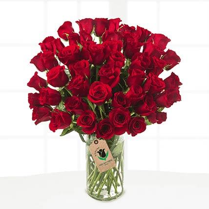 50 Romantic Red Roses Vase