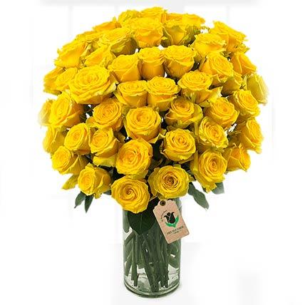 55 Bright Yellow Roses Vase