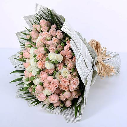 60 Stems of Pink & White Spray Roses Bunch