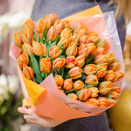 70 Orange Tulips Bouquet