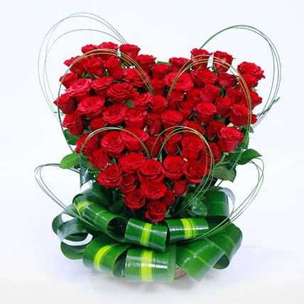 75 Red Roses Heart Shaped Arrangement