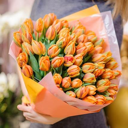 80 Orange Tulips Bouquet