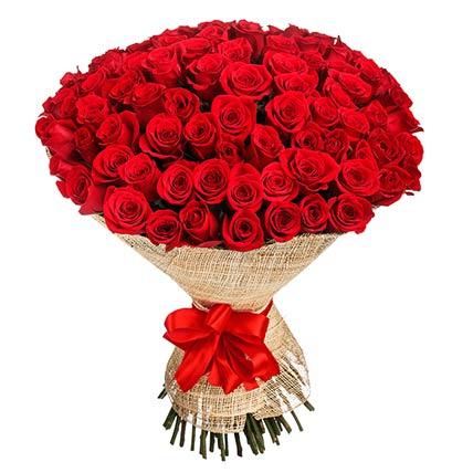 100 Elegant Red Roses Bouquet
