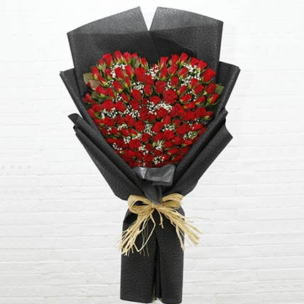 100 Red Roses Heart Shaped Bouquet