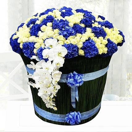 Blue & White Flowers Arrangement- Standard