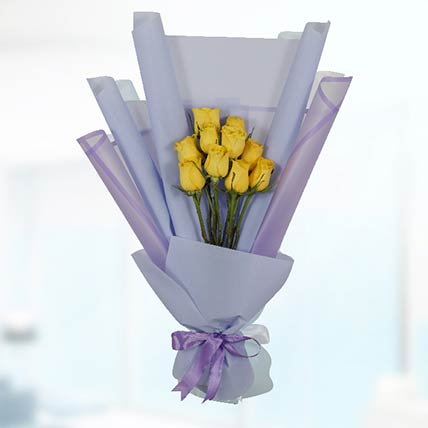 Bouquet Of 10 Yellow Roses