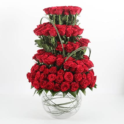 Fish Bowl Of 101 Red Roses