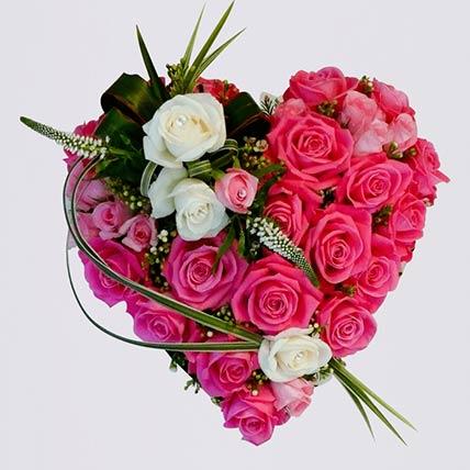 Heart Shaped Arrangement Of Roses- Premium