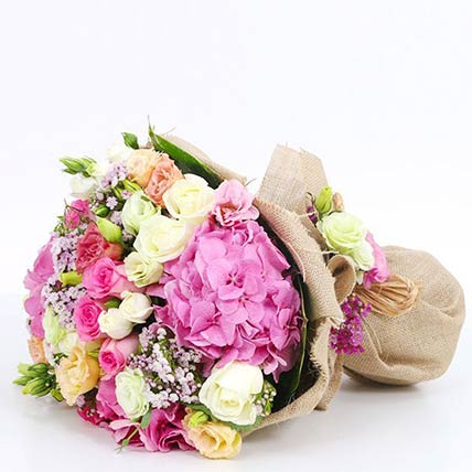 Mix Flowers Bunch With Pink Hydrangeas- Deluxe