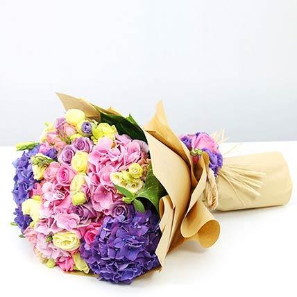 Mix Flowers Bunch With Purple Hydrangeas- Deluxe