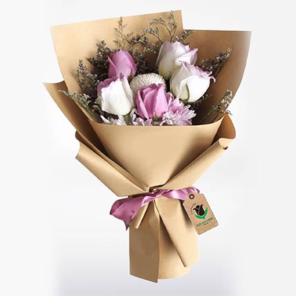 Purple & White Roses Bouquet- Premium