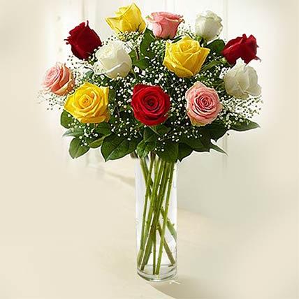 Rainbow Roses Vase- Premium