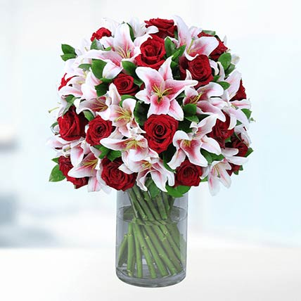 Red Roses & Pink Liles In Vase- Deluxe