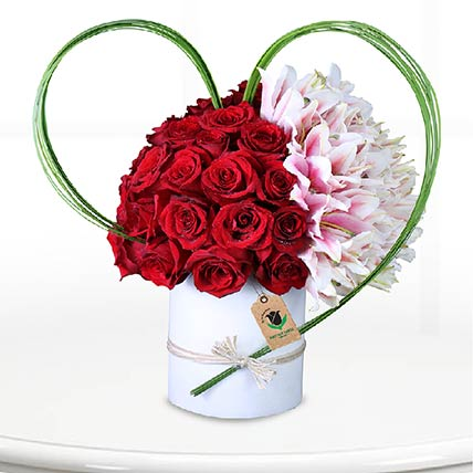 Red Roses & Pink Lilies Arrangement- Premium
