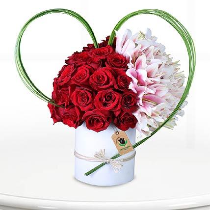 Red Roses & Pink Lilies Arrangement- Standard