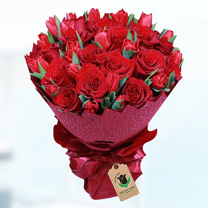 Romantic Red Flower Bouquet- Premium