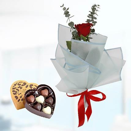 Single Red Rose Blue Wrap & Godiva Chocolates