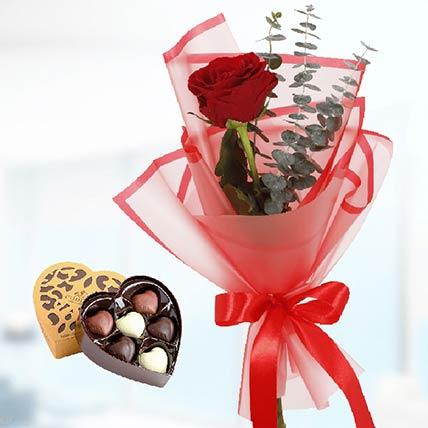 Single Red Rose & Godiva Chocolates