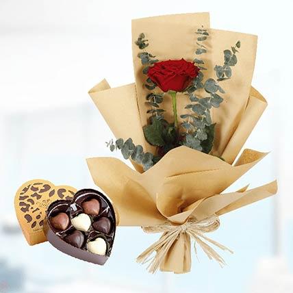 Single Red Rose Paper Wrap & Godiva Chocolates