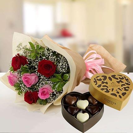 Beautiful Roses & Godiva Chocolates 250 gms