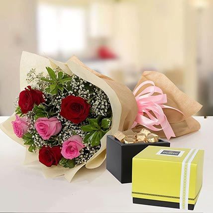 Beautiful Roses & Patchi Chocolates 250 gms