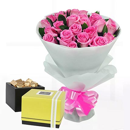 Delicate Pink Roses & Patchi Chocolates 250 gms